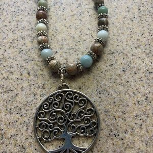 "22"" bead necklace w/  Silver Tree of Life Pendant"